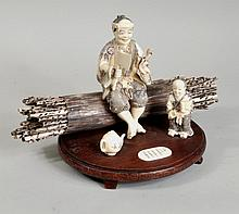 Japanese Carved Ivory Figural Group/Inlaid Stand