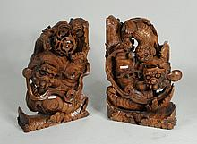 Pair of Carved Namwood Temple Lions
