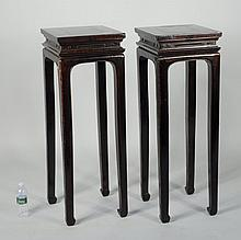 Pair Chinese Lacquered Wood Stands