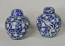 Pair Chinese Hawthorne Decorated Covered Jars