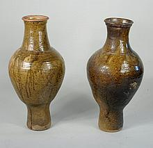 Pair Brown Glazed Wine/Food Jars