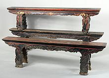 Three Chinese Carved & Painted Long Benches