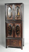 Chinese Carved & Lacquered Stacking Cabinet