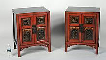 Two Chinese Red Lacquer & Gilt Small Cabinets
