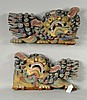 Pair Gilt & Pigmented Carved Wood Temple Lions