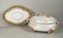 English Crown Derby Porcelain Footed Tureen