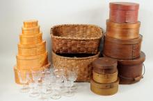 Thirteen Shaker Style Boxes, Baskets & Glassware