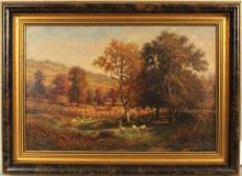 Landscape Painting Sheep Grazing, O/C