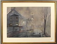 C. Robert Perrin Cityscape At Night W/P, Signed