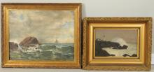 Two American School Seascape Paintings O/C
