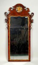 Queen Anne Figured Walnut and Parcel Gilt Mirror