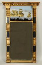Sheraton Architectural Mirror, Gilt W/Eglomise
