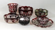 Group Ten Bohemian Cut Glassware