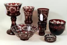 Seven Pieces Bohemian Ruby Etched Glassware