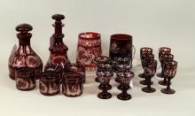 Group Twenty-One Bohemian Cut Glassware