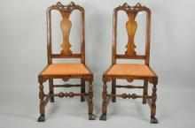 Pair Wm & Mary Style Chairs, Manner John Gaines