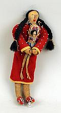 Crow Beaded Hide & Wool Doll