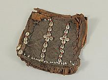 Oceanic Cowrie Shell Fiber and Leather Pouch