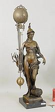 Bronze Figural Clock Of Diana On Marble Base