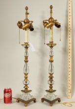 Pair Crystal Gilt Bronze Candlesticks