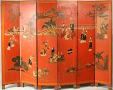 Chinese Carved & Lacquered Six Panel Screen