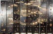 Chinese Carved & Lacquered Eight Panel Screen