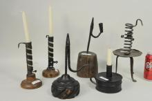 Six Early Wrought Iron & Wood Lighting Devices