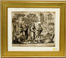 Biblical Engraving Of The Expulsion From Paradise