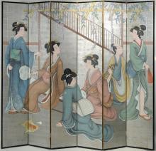 Chinese Six Panel Folding Screen, Geisha