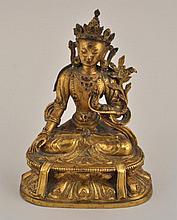 Tibetan Gilt Bronze Seated Figure of Tara