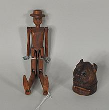 Two Carved Wood Items, Inkwell & Folk Art Man