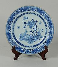 Chinese Blue & White Plate, 18th C.
