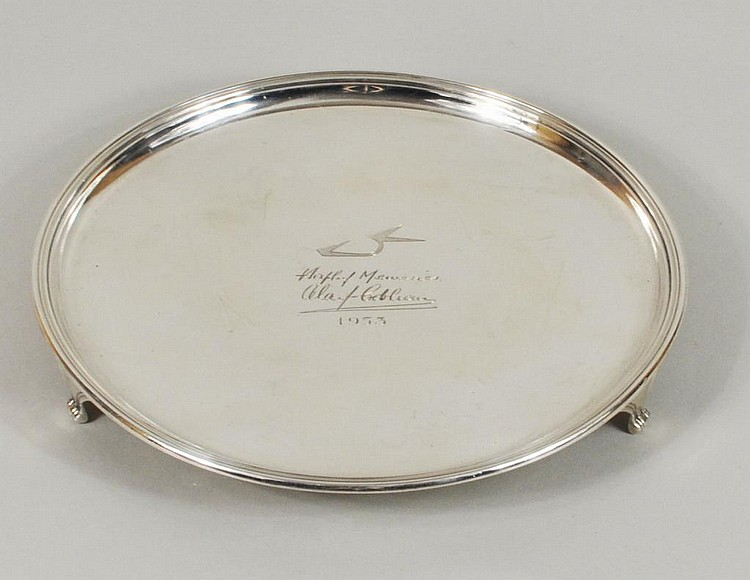 English Sterling Silver Footed Salver