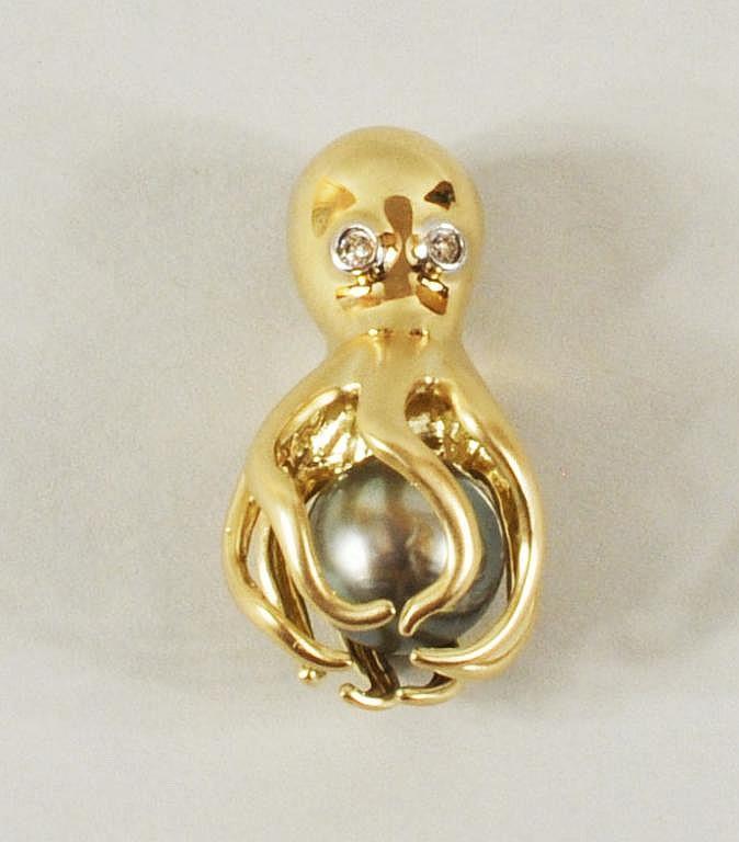 14K Gold, Diamond & Tahitian Pearl Octopus Pendant