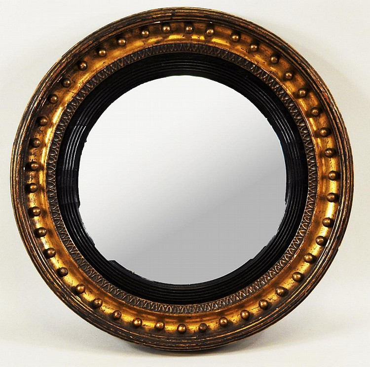 Small Regency Period Giltwood Convex Mirror