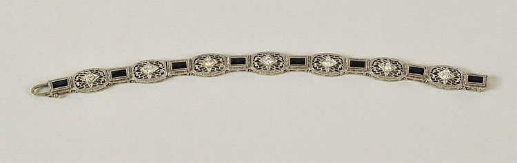 Platinum Topped 14K Gold, Diamond Bracelet