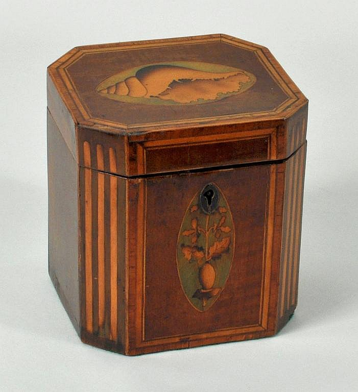 Georgian Satinwood Inlaid Mahogany Tea Caddy