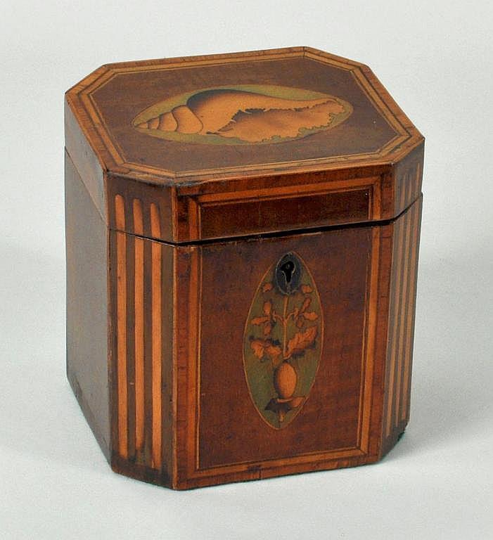 Georgian Satinwood Inlaid Mahogany Tea Caddy