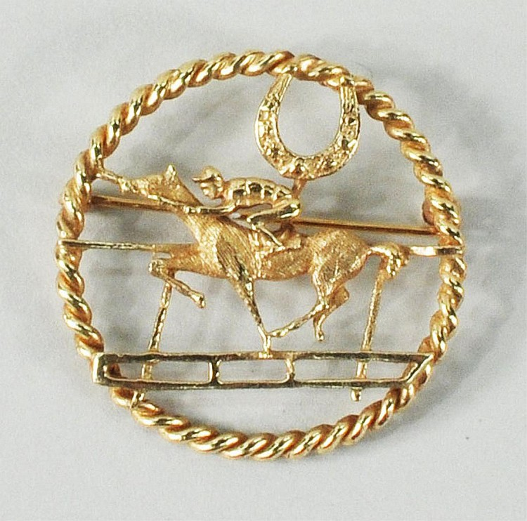 14K Gold Horse & Jockey Pin