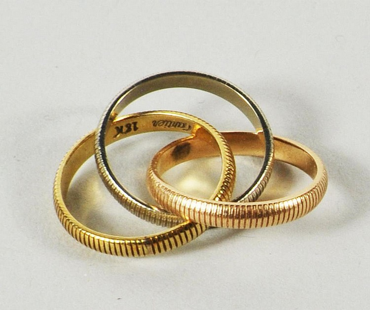 Cartier Two Colored Trinity Ring, 18K Gold
