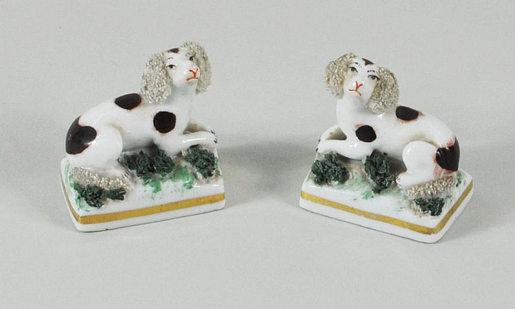 Pair Staffordshire Porcelain Miniature Poodles