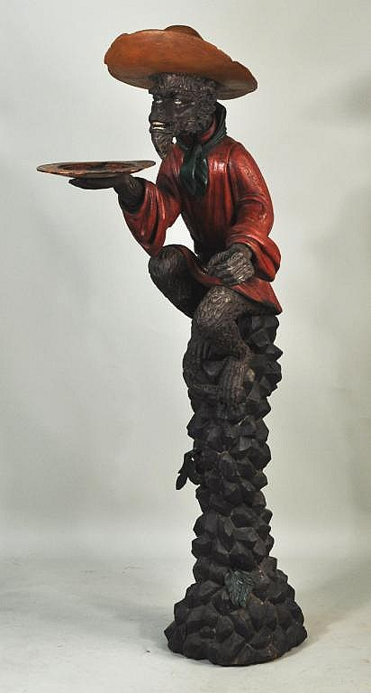 Venetian Carved Stylized Monkey Figure, 19th C.