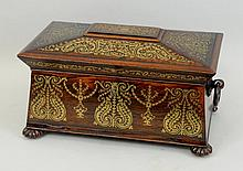 Regency Brass Inlaid Rosewood Tea Caddy