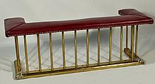 Brass and Leather Fireplace Fender/Bench