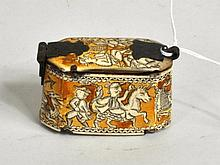 Continental Engraved and Stained Bone Tobacco Box