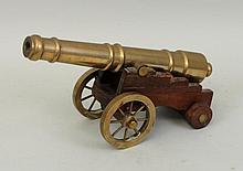 Miniature Brass & Wood Cannon Replica