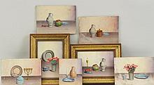 V. Weley, 7 Miniature Still Life Paintings, O/M