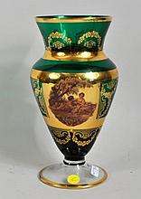 Continental Gilt & Decorated Glass Vase