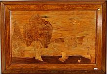 Framed Marquetry Wall Plaque, Borst Brothers