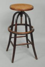 Thonet Style Adjustable Bentwood & Iron High Stool